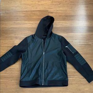 Men's black leather hoodie
